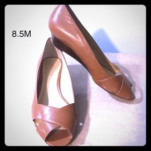 Ralph Lauren British Tan Gen Leather Wedge Heels
